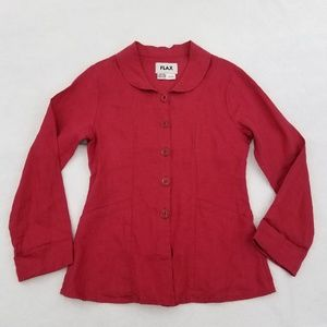 Flax Top Button Front P 4 6 Red 100% Linen Long Sl